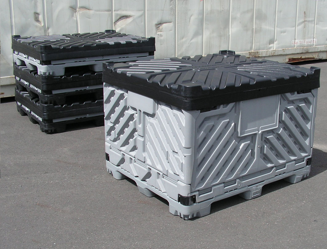 Step by step collapsible pallet bins